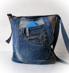 jean messenger bag denim crossbody bag jean sling bag denim Blue Jean  Quilts 06c478ac7d7