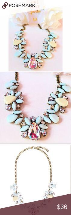 🍒T&J • Statement Necklace • Clear & Mint Stones🍒 🍒T&J • Statement Necklace • Clear/Yellow/Mint Stones • Gold Chain • Includes a Silk & Faux Leather Case🍒 T&J Designs Jewelry Necklaces