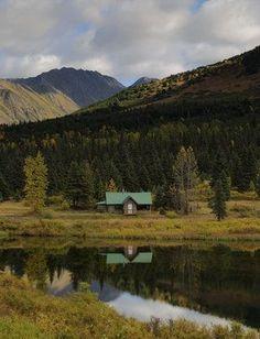Lower Summit Lake Cabin, Kenai Peninsula, Alaska [OC][3648x4765] : CabinPorn