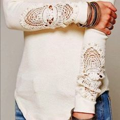 White crochet long sleeve lace inset tee Brand new without tags. Unbranded tagged free people for exposure. Will upload more pics soon. Free People Tops Tees - Long Sleeve