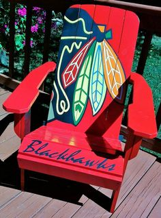 cool 10 Adirondack Chair Decor Ideas for Your Patio 1 - Adirondack Beach Chairs source Check out these adirondack beach chairs with themes such as tropical, palm tree, flop flop, margaritaville and . Chicago Blackhawks, Blackhawks Hockey, Adirondack Chairs, Outdoor Chairs, Adirondack Furniture, Pallets Garden, Pallet Patio, Diy Pallet, Palette