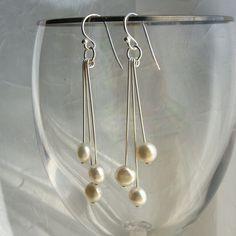 Look easy enough to make! Pearl earrings freshwater coin pearls sterling by KGarnerDesigns