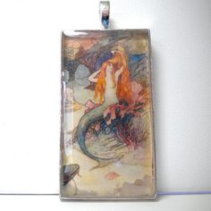 Mermaid Art Pendant Glass Photo Pendant by SurfSeaGlass on Etsy, $18.00