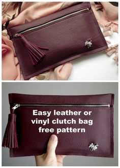 Easy leather or vinyl clutch bag free pattern - Sew Modern BagsYou can find Clutch bags and more on our website.Easy leather or vinyl clutch bag free pattern - Sew Modern Bags Diy Leather Clutch, Leather Bag Tutorial, Leather Bag Pattern, Sewing Leather, Leather Skirt, Leather Bags, Diy Leather Pouches, Clutch Tutorial, Leather Purses