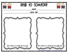 ADORABLE recording sheet for Read to Someone- Daily 5