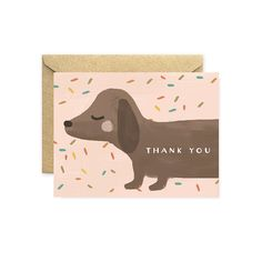 Dachshund Thank You Cards, Pink Children's Card with Confetti, Birthday Party Thank You with Kraft Envelope