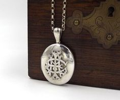Large Victorian Locket  Sterling Silver AEI by DaisysCabinet