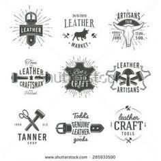 Second set of grey vector vintage craftsman logo designs, retro genuine leather tool labels artisan craft market insignia illustration - Shutterstock