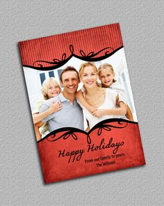 Red and Black Photo Christmas Card Shabby by TheRedStarDesigns, $10.00