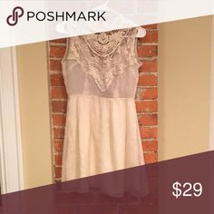 Ark & Co. High Neck, Backless Cream Lace Dress Beautiful lace yoke dress from Ark & Co. new with tags! Lovely cut out back with high neckline. This would be great for a bridal shower or rehearsal dinner dress! Ark & Co Dresses