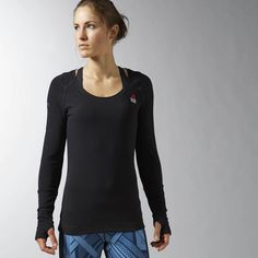 Reebok CrossFit Performance Long Sleeve Burnout - Black, medium
