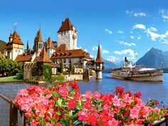 Oberhofen Castle on Lake Thun. Switzerland