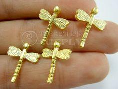 4 pc Gold DragonFly Mini DragonFly Charms por turkisheyesupply