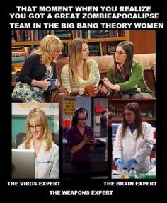 Zombie apocalypse team made of the ladies in the Big Bang Theory.  How did I not see this before?