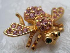 RARE Joan Rivers BEE PIN Bug Brooch Pink Tourmaline Rhinestones October by…