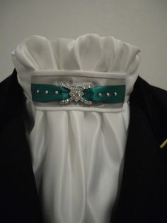 Equestrian Pzazz white euro-style dressage or show stock with silver and jade tab - $55.00