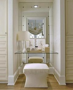 A dressing table, chair, and lights are all you need to create a comfortable makeup area in your home and add a new sensation to interiors design