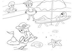 Spelen op Strand Kleurplaat