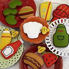 Summer BBQ Cookie 15 Piece Assortment - Summer just wouldn't be the same without backyard BBQs, and BBQs just wouldn't be the same without these adorable cookies. Each of the 15 cookies are hand-decorated and the fun decorations include everything from a mustard bottle to a big, juicy hamburger.