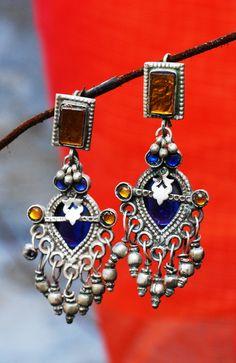 #blue and #mustard #earrings #shadesofspring