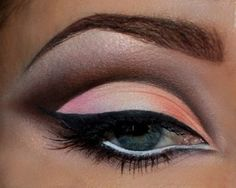 Cut crease eye makeup in black, grey, pale pink, with liquid black and white liner, false lashes.