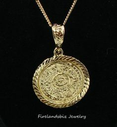 Our lady of guadalupe 14k gold layered enamel pendant curb link aztec calendar pendant and chain 24k gold layered 3200 aloadofball Image collections