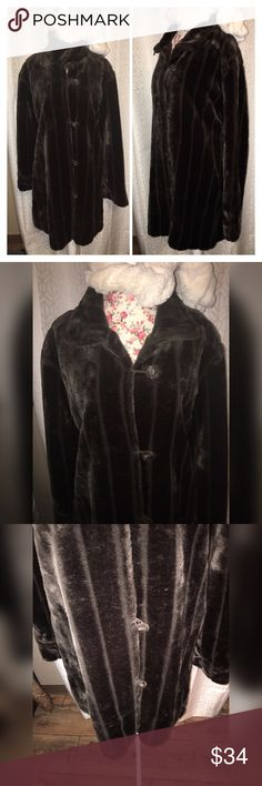 """NWOT BROWN FAUX FUR FULL LEGTH COAT SZ XL This beautiful brown almost full length faux fur coat is a size extra large and has toggles for buttons it is 21""""across the chest 22"""" at the hips and is 38"""" from the shoulders and is a vintage piece in excellent condition!! My first vintage piece was a coat like this! And I never looked back!! And at this price it's a steal!!#1605 Vintage Jackets & Coats Puffers"""