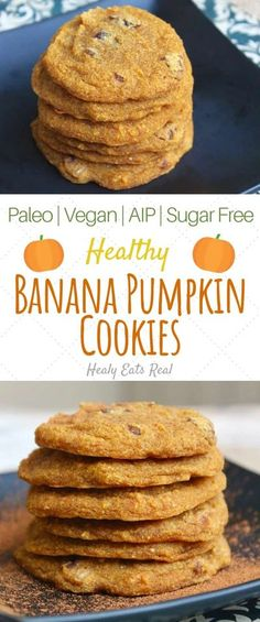 Healthy Banana Pumpkin Cookies (AIP, Paleo, Vegan, Sugar Free)- These healthy banana pumpkin cookies make a fun aip dessert. They're soft and chewy with a sweet spiced flavor. This recipe is also paleo, vegan and has no added sugar. #pumpkin #aip #desserts via @healyeatsreal Paleo Vegan, Vegan Sugar, Paleo Diet, Paleo Bread, Vegan Raw, Vegan Butter, Pumpkin Cookie Recipe, Pumpkin Spice, Pumpkin Carving