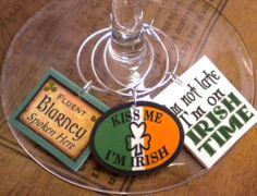 12 St Patrick's Day Irish Sayings Wine Charms for the Perfect St. Patty's Day Party-Unique gift for your IRISH Best Friend, FAST Shipping