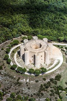 Vue aérienne de Castel del Monte, Andria, Pouilles, Italie