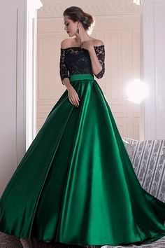 Graceful Lace Prom Dress, Green Satin Long Prom Dress, Off-the-shoulder A-line Evening Dress With Pleats · Friday Dresses · Online Store Powered by Storenvy Prom Dresses Long With Sleeves, Black Prom Dresses, A Line Prom Dresses, Ball Dresses, Pretty Dresses, Beautiful Dresses, Ball Gowns, Formal Dresses, Dress Long