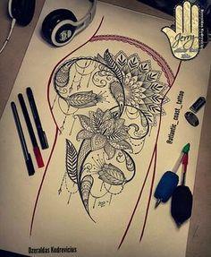 mandala lotus tattoo idea, drawing, lace dotwork thigh tattoo