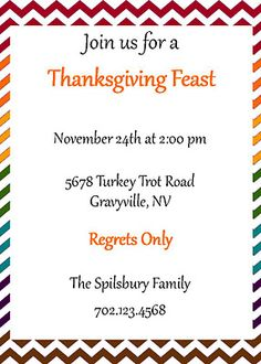 Our Chevron Thanksgiving Collection Suite adds color to your decor. Invitation BellaGrey Designs