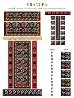 Semne Cusute: ie din MOLDOVA, Vrancea, Vidra Folk Embroidery, Learn Embroidery, Embroidery Patterns, Cross Stitch Patterns, Machine Embroidery, Floral Embroidery, Simple Cross Stitch, Moldova, Antique Quilts