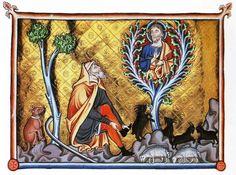 Illuminated manuscript showing Moses and the Burning Bush