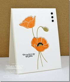 handmade card: Recessed Stamping at MFT Academy ... realistic California poppy stamped in the recess from the negative die cut poppy .. clean a simple ...( makes me smile) ... My Favorite Things ...