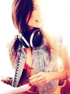 Haute Songs: Your Style Soundtrack, headphones, dj style, edgy style, music, denim vest