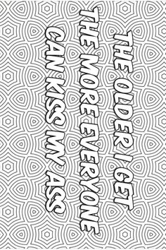 Swear Word Coloring Book, Quote Coloring Pages, Printable Adult Coloring Pages, Colouring Pages, Coloring Sheets, Coloring Books, Porno, Embroidery, Doodle Art