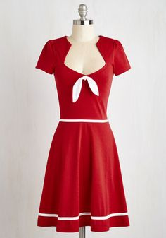 With a Bow On Top? Dress - Mid-length, Knit, Red, White, Solid, Casual, Nautical, Pinup, 50s, 60s, A-line, Short Sleeves, Better