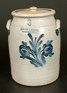 """Sold $250 Three-Gallon Stoneware Jar with Cobalt Floral Decoration, Stamped """"COWDEN & WILCOX / HARRISBURG, PA,"""" circa 1865, cylindrical jar with toole..."""