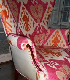 Use 2 fabrics to upholster a chair