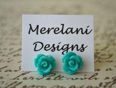 Dark Teal Roses  Studs  Earrings  Rose Studs by MerelaniDesigns, $0.20