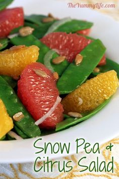 Snow Pea, Grapefruit & Orange Salad. Crisp, fresh, nutritious and delicious. www.theyummylife.com/Snow_pea_grapefruit_and_orange_salad