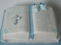 33 Unique Christening Cake Ideas with Images - My Happy Birthday Wishes Baby Boy Christening Cake, Baby Boy Baptism, Baptism Party, Baptism Ideas, Fondant, Baby Dedication Cake, Confirmation Cakes, Baptism Cakes, Bible Cake