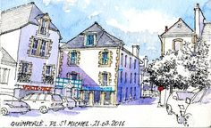 Croquis du lundi matin avec le groupe des croqueurs quimperlois. Place Saint-Michel en haute ville Aquarelle sur carnet Moleskine 13x21 cm  Monday morning sketch with the urbansketchers group of Quimperlé. Saint-Michel square in  upper-town Watercolor on Moleskine sketchbook 13x21 cm Moleskine Sketchbook, Sketchbooks, Ink Wash, Urban Sketching, Cubism, Monday Morning, Art Quotes, Saints, Illustration Art