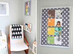 good ideas: picture ledge of books next to chair, name spelled out in flashcards and backed with fabric