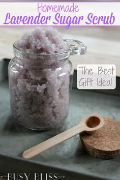 Lavender sugar scrub is a relaxing way to make your skin feel fresh and clean! It makes a great gift idea for your friends and family.