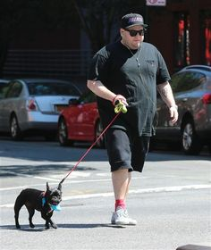 Jonah Hill walked his dog in New York City on Aug. 7, 2015.