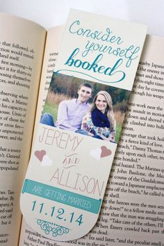Custom color Save the Date Bookmarks.