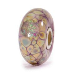 317429-62019 Trollbeads Purple Flower Mosaic - Every bead has its own character. Each one, a separate piece of an exquisite Persian flower mosaic cast in purple with a shiny shadow of dichroic glass.